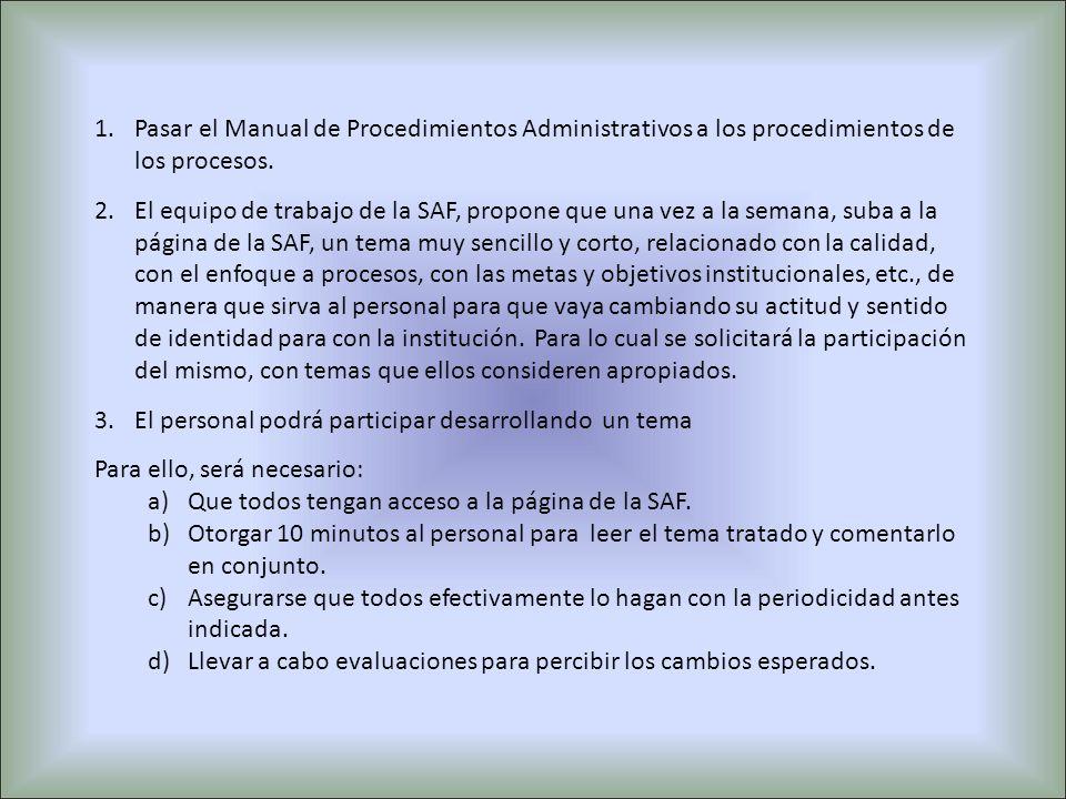 Pasar el Manual de Procedimientos Administrativos a los procedimientos de los procesos.