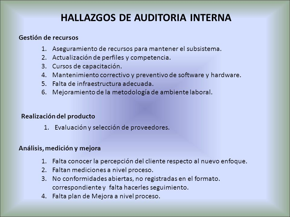 HALLAZGOS DE AUDITORIA INTERNA