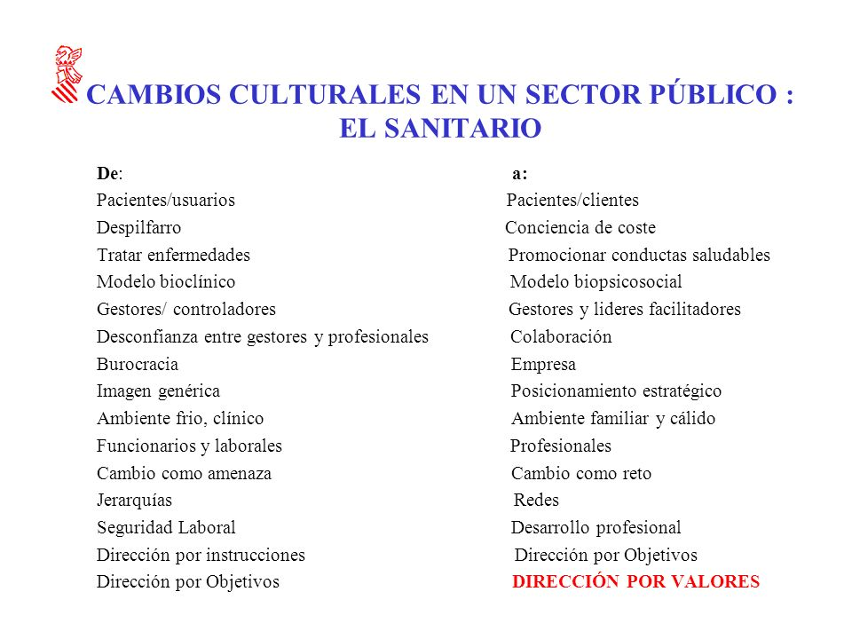 CAMBIOS CULTURALES EN UN SECTOR PÚBLICO : EL SANITARIO