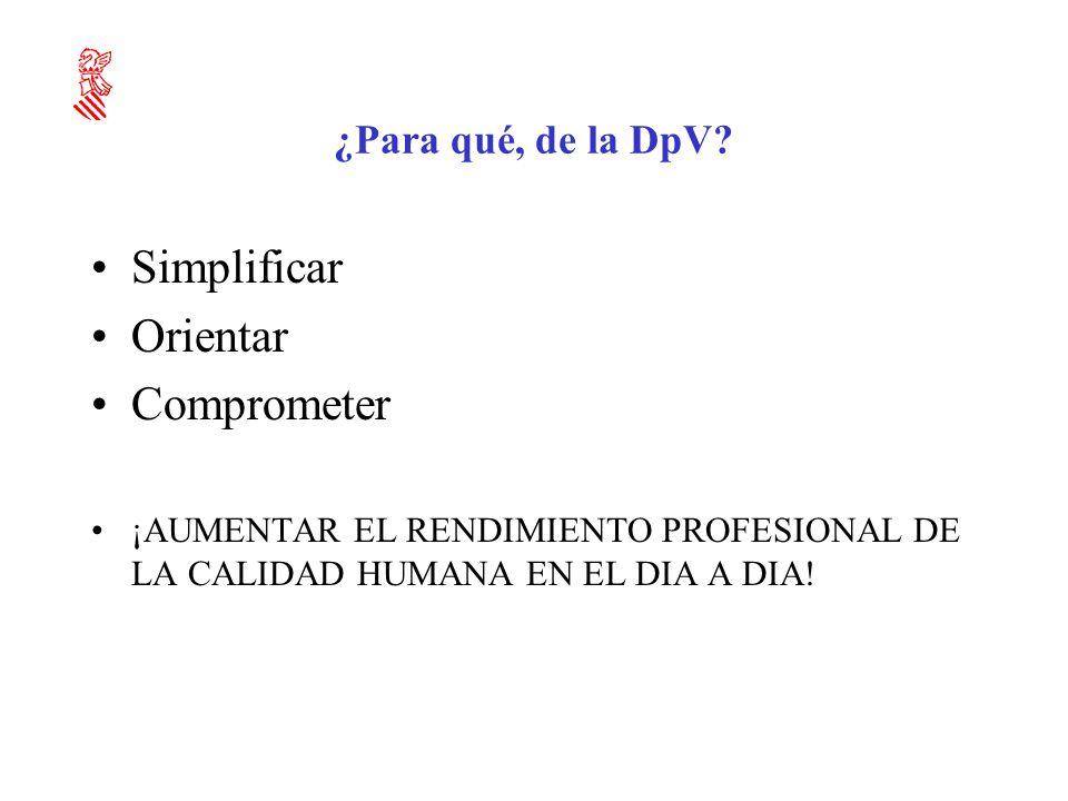Simplificar Orientar Comprometer ¿Para qué, de la DpV