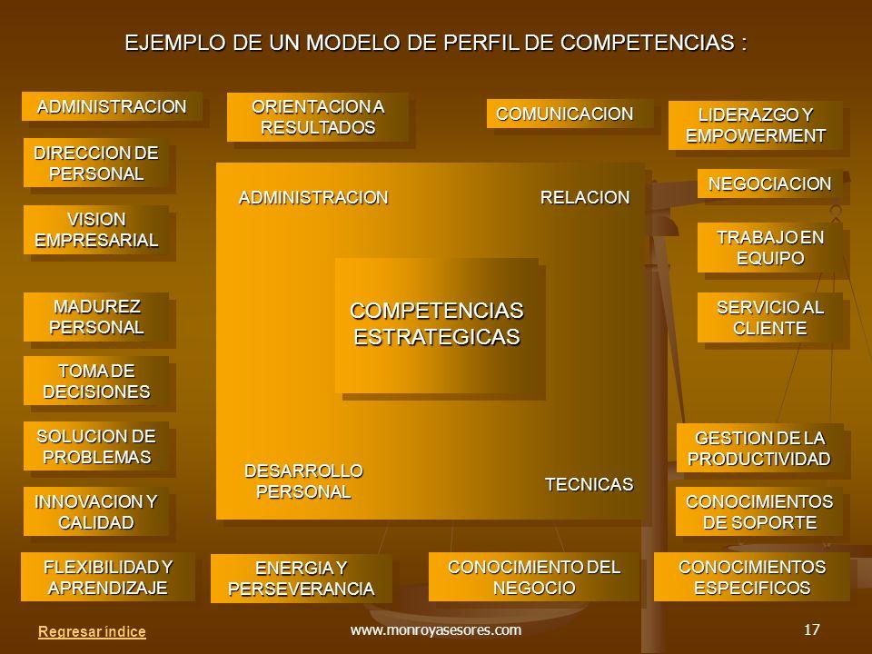 EJEMPLO DE UN MODELO DE PERFIL DE COMPETENCIAS :