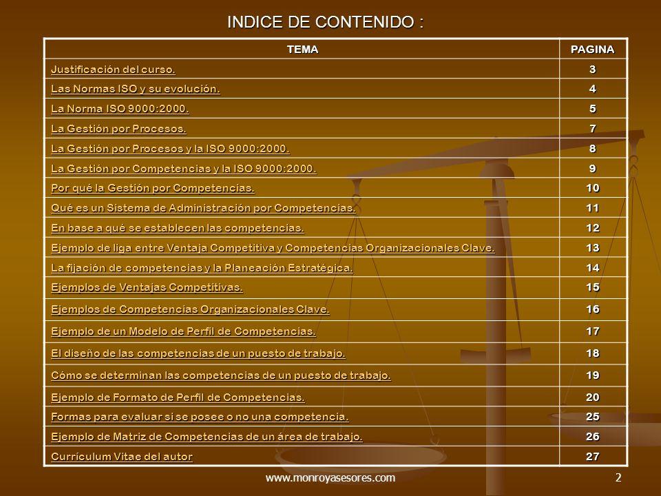 INDICE DE CONTENIDO : TEMA PAGINA Justificación del curso. 3