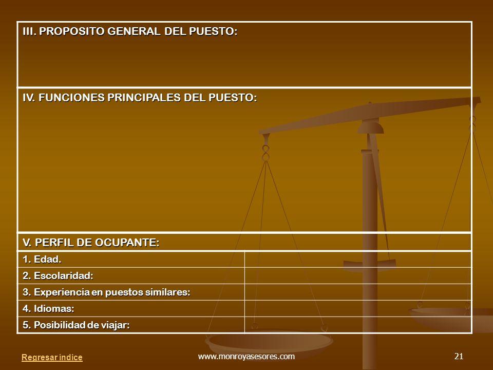 III. PROPOSITO GENERAL DEL PUESTO: