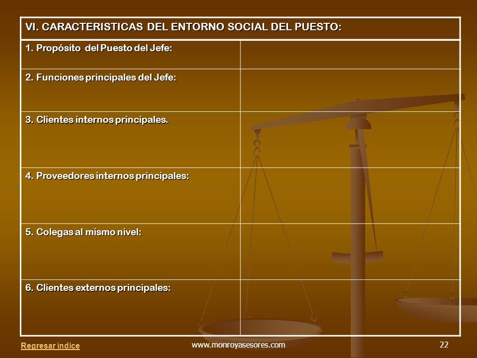 VI. CARACTERISTICAS DEL ENTORNO SOCIAL DEL PUESTO: