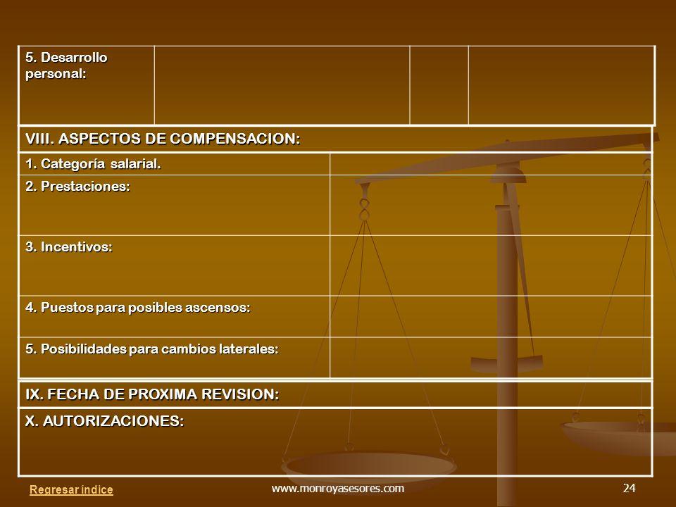 VIII. ASPECTOS DE COMPENSACION: