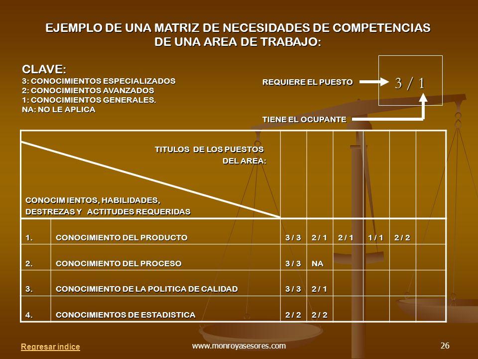 EJEMPLO DE UNA MATRIZ DE NECESIDADES DE COMPETENCIAS