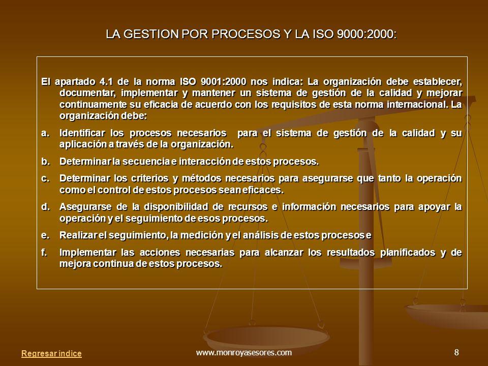 LA GESTION POR PROCESOS Y LA ISO 9000:2000: