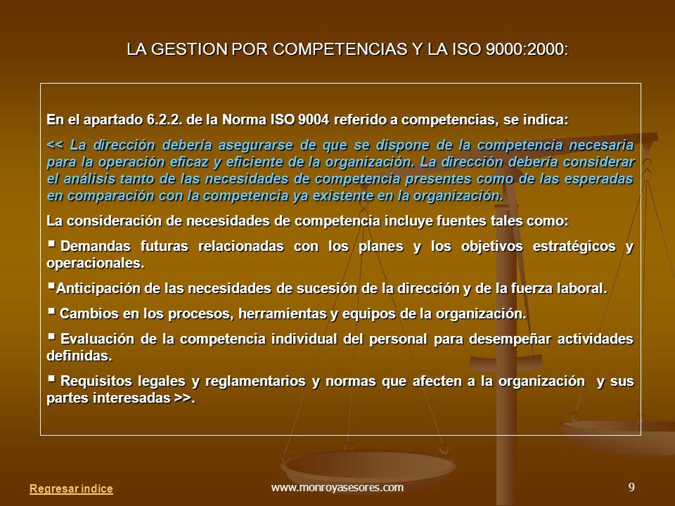 LA GESTION POR COMPETENCIAS Y LA ISO 9000:2000: