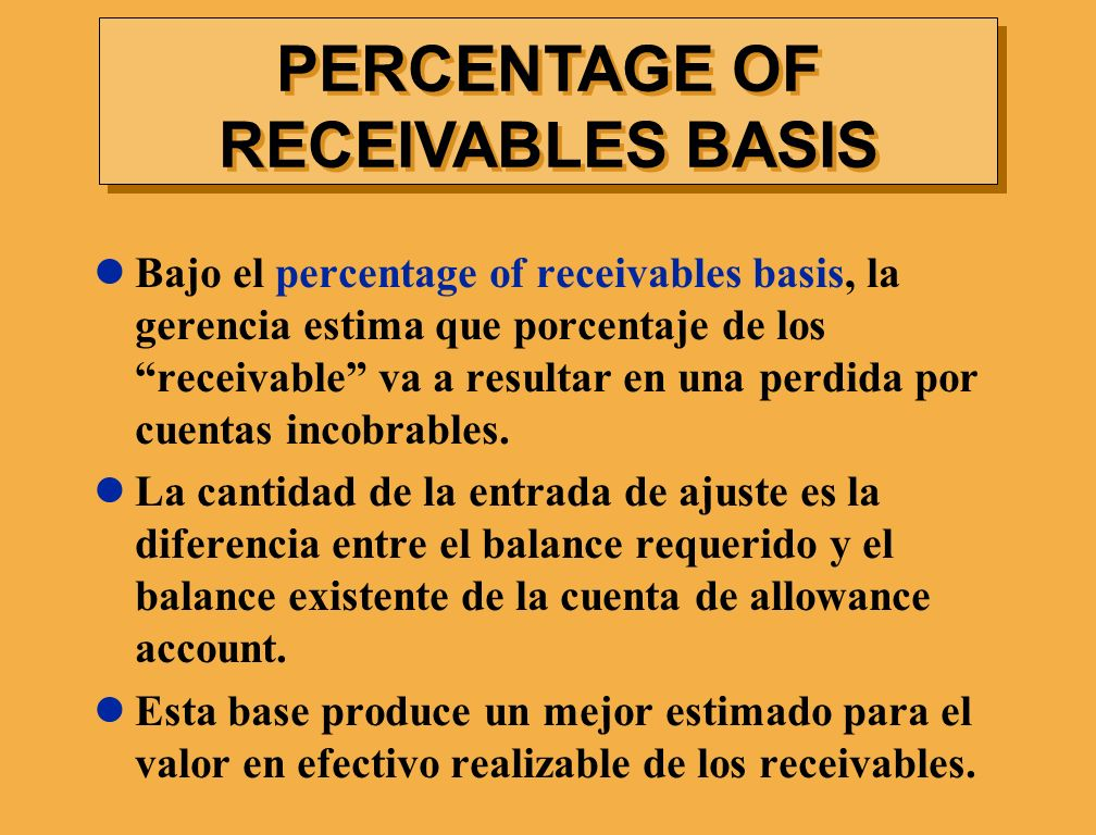 PERCENTAGE OF RECEIVABLES BASIS