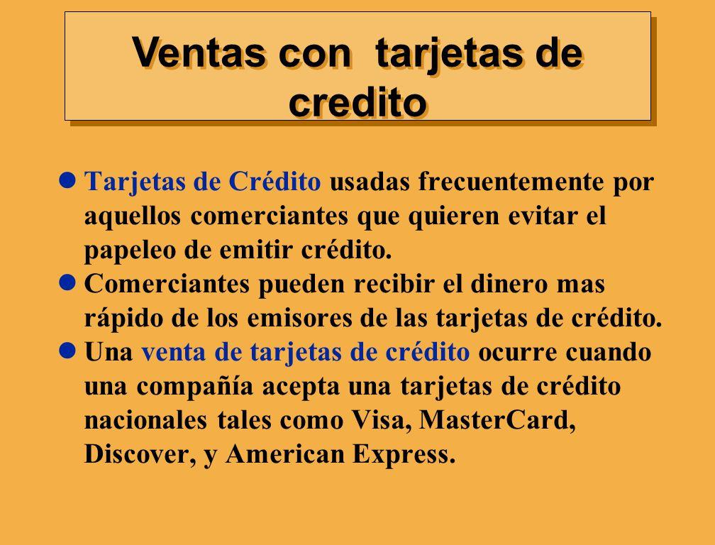 Ventas con tarjetas de credito