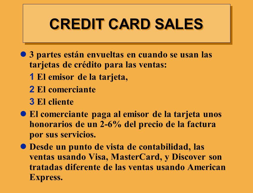 CREDIT CARD SALES 3 partes están envueltas en cuando se usan las tarjetas de crédito para las ventas: