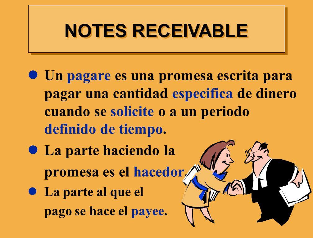 NOTES RECEIVABLE Un pagare es una promesa escrita para pagar una cantidad especifica de dinero cuando se solicite o a un periodo definido de tiempo.