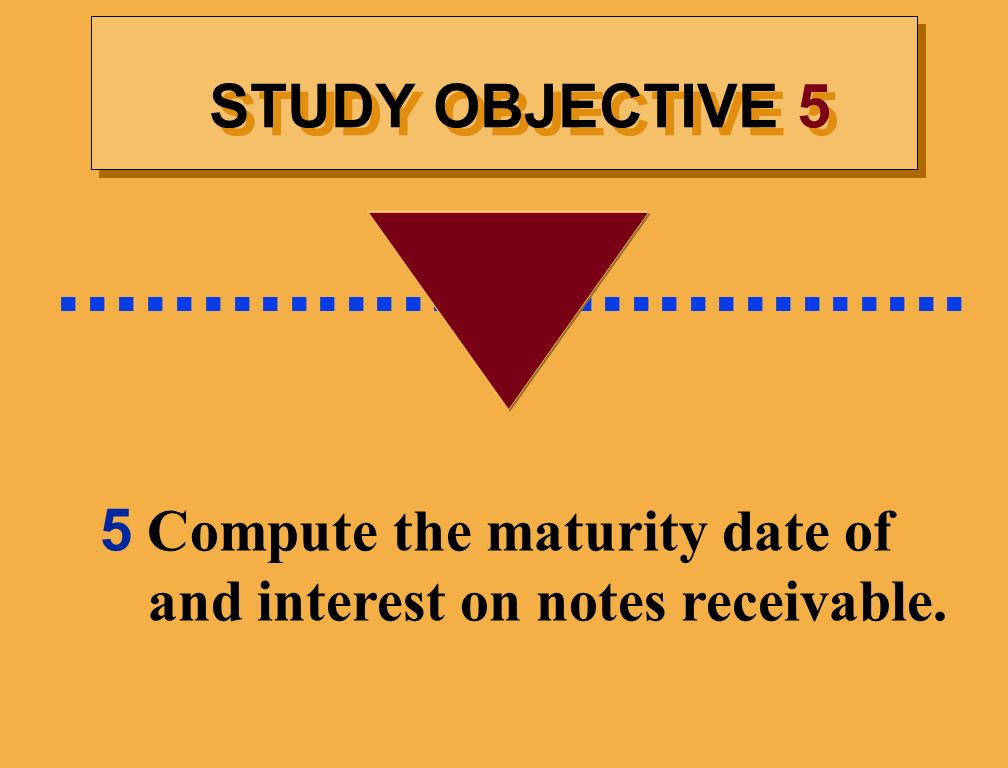 5 Compute the maturity date of and interest on notes receivable.