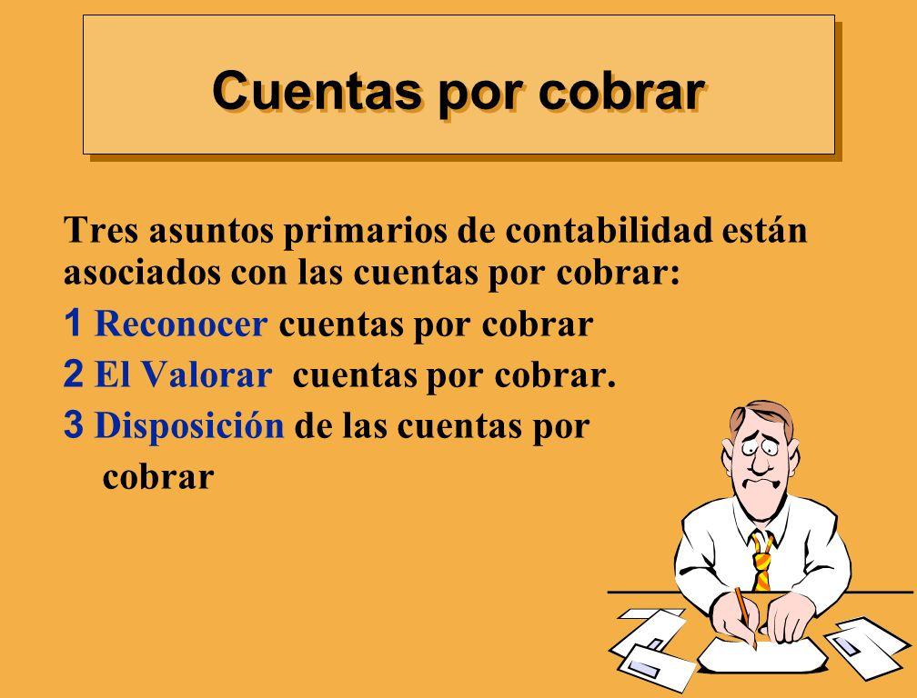 Cuentas por cobrar Tres asuntos primarios de contabilidad están asociados con las cuentas por cobrar: