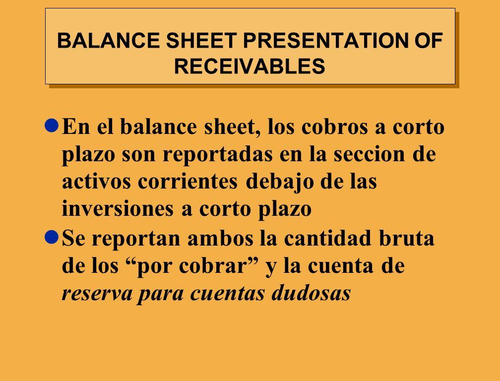 BALANCE SHEET PRESENTATION OF RECEIVABLES