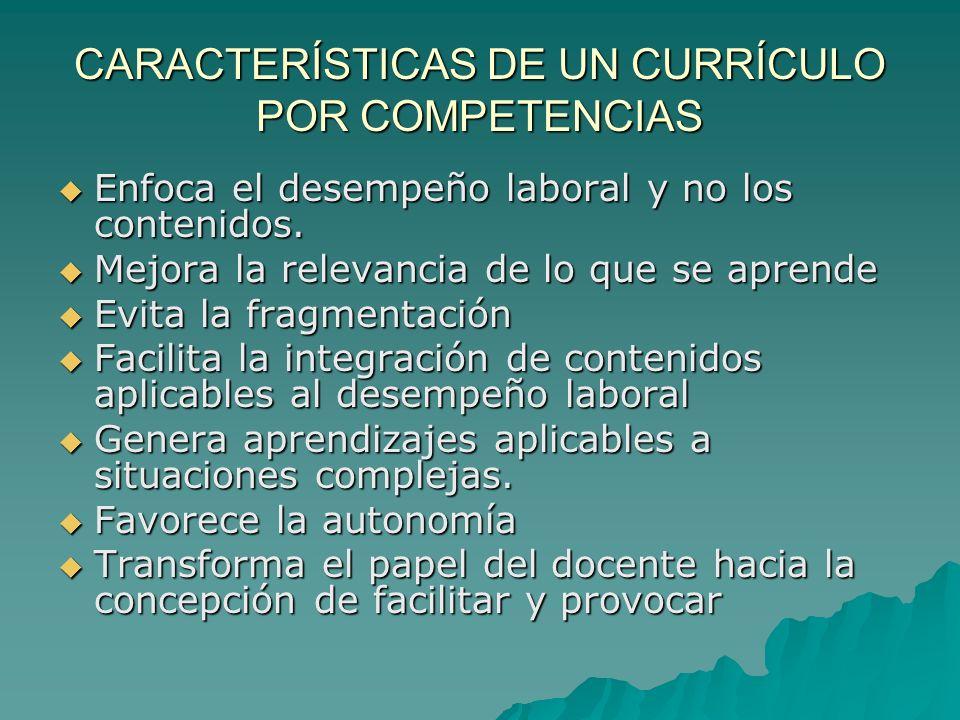 CARACTERÍSTICAS DE UN CURRÍCULO POR COMPETENCIAS