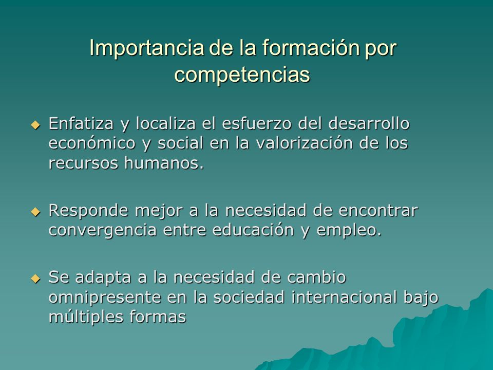 Importancia de la formación por competencias