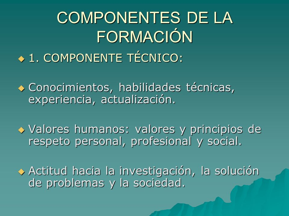 COMPONENTES DE LA FORMACIÓN