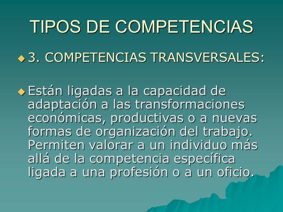 TIPOS DE COMPETENCIAS 3. COMPETENCIAS TRANSVERSALES: