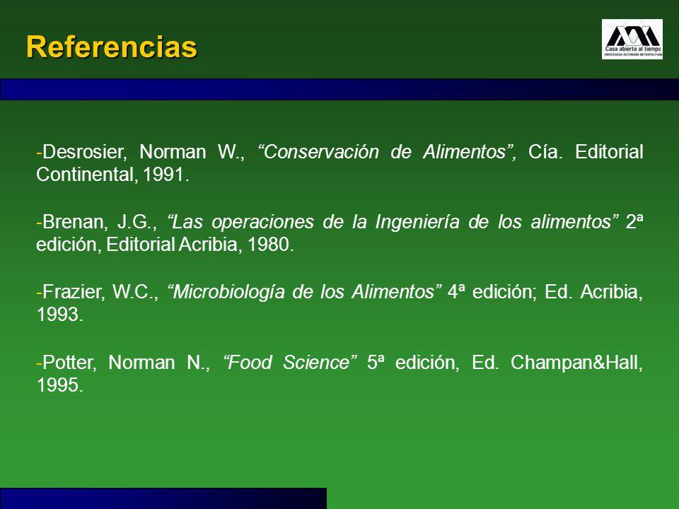 Referencias Desrosier, Norman W., Conservación de Alimentos , Cía. Editorial Continental, 1991.