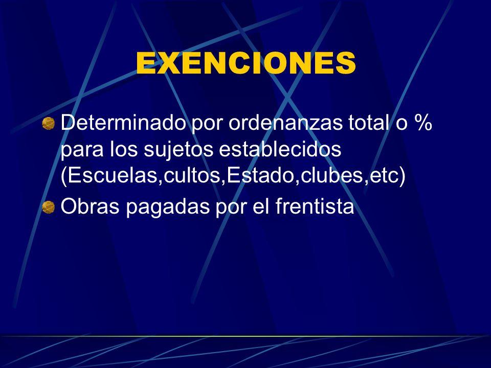 EXENCIONES Determinado por ordenanzas total o % para los sujetos establecidos (Escuelas,cultos,Estado,clubes,etc)