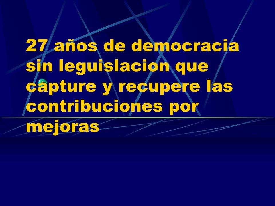 27 años de democracia sin leguislacion que capture y recupere las contribuciones por mejoras