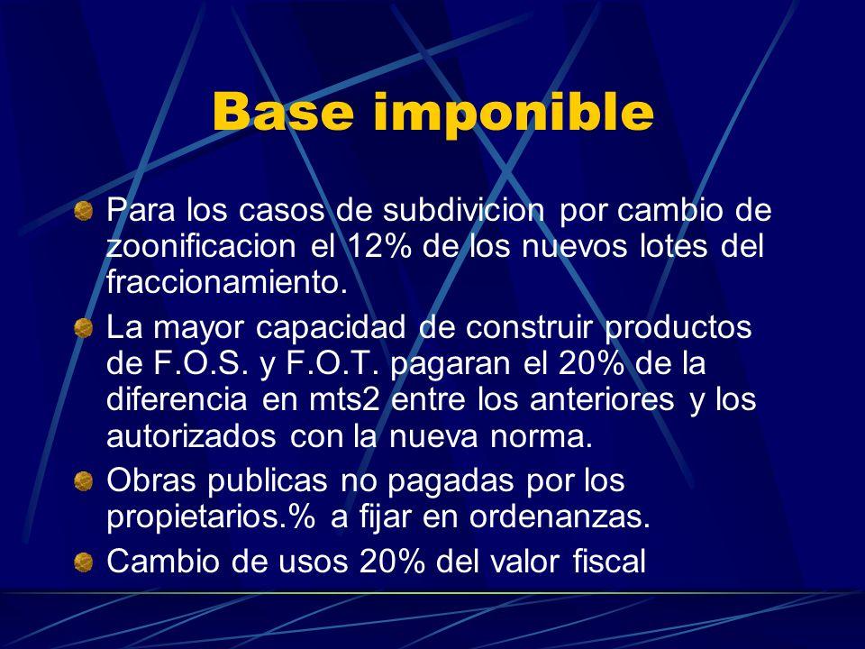 Base imponible Para los casos de subdivicion por cambio de zoonificacion el 12% de los nuevos lotes del fraccionamiento.