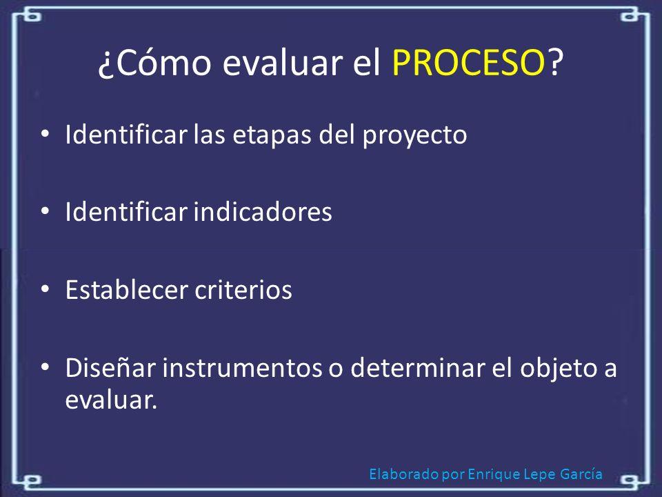 ¿Cómo evaluar el PROCESO