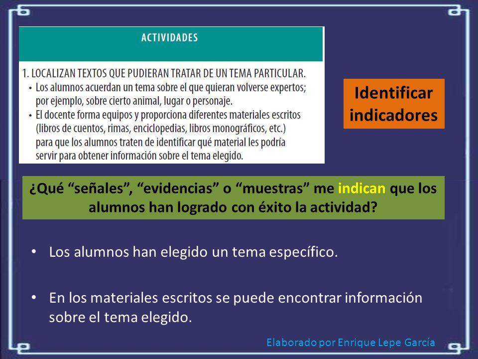 Identificar indicadores