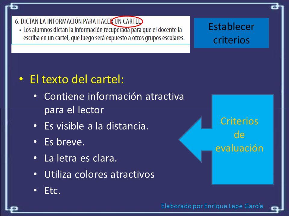 El texto del cartel: Establecer criterios
