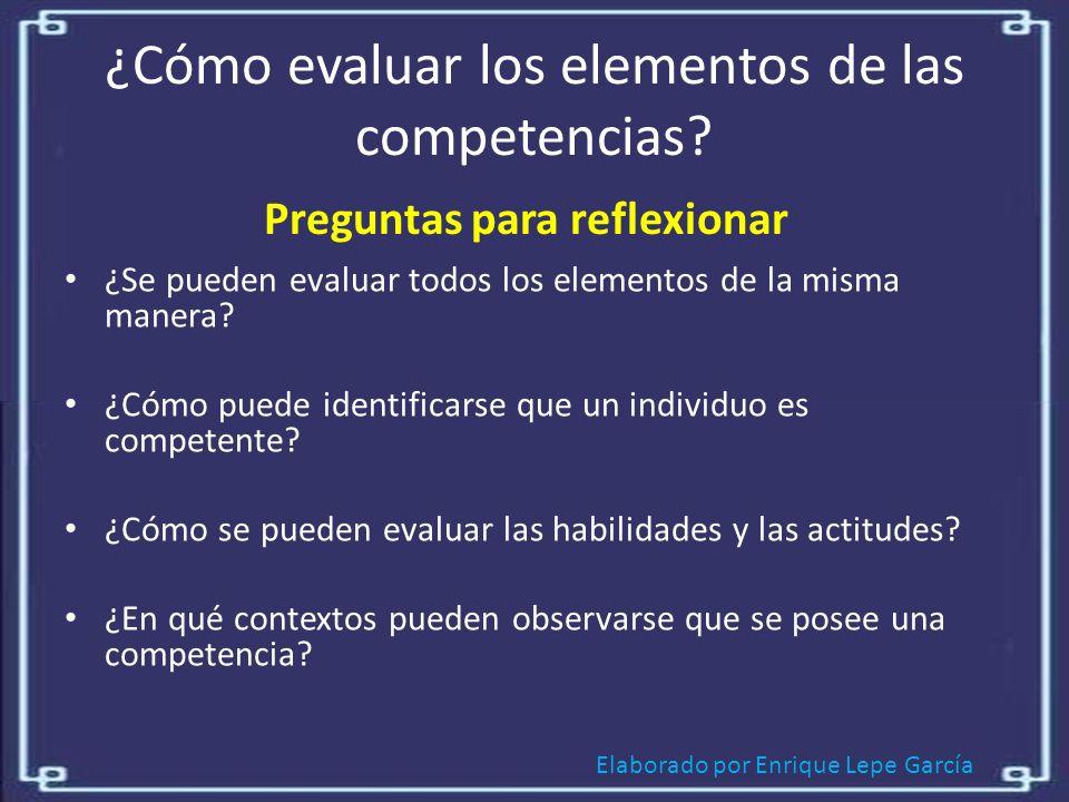 ¿Cómo evaluar los elementos de las competencias
