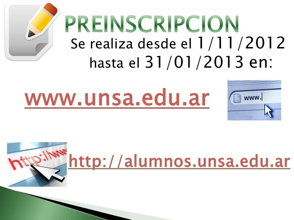 PREINSCRIPCION www.unsa.edu.ar