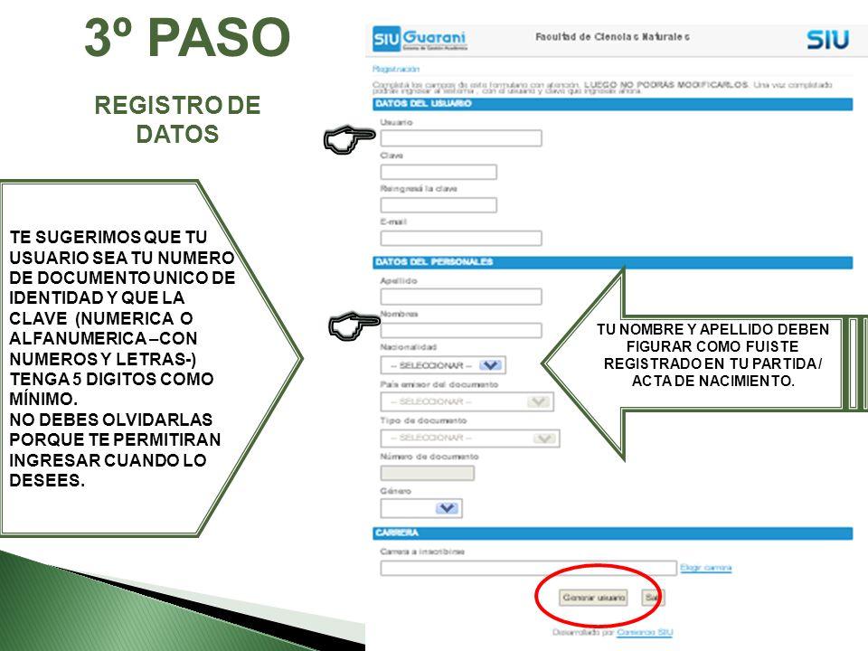 C C 3º PASO REGISTRO DE DATOS