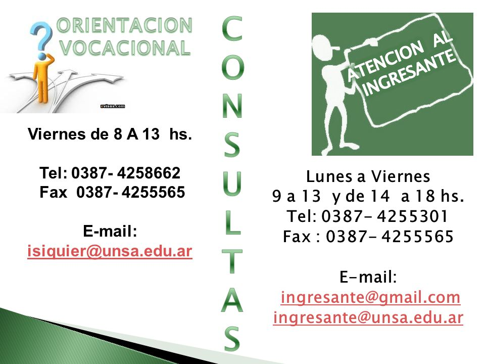 CONSULTAS ORIENTACION VOCACIONAL ATENCION AL INGRESANTE