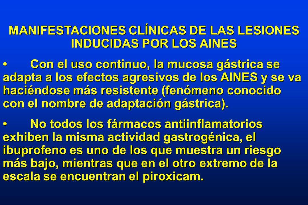 MANIFESTACIONES CLÍNICAS DE LAS LESIONES INDUCIDAS POR LOS AINES