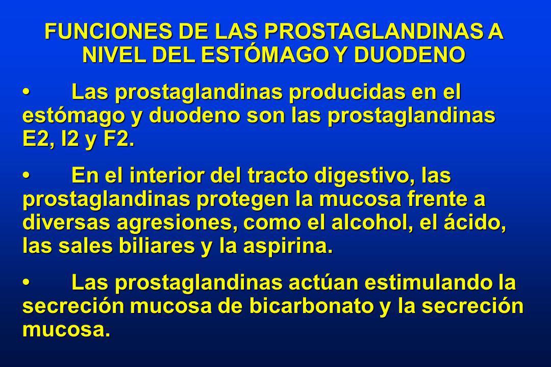 FUNCIONES DE LAS PROSTAGLANDINAS A NIVEL DEL ESTÓMAGO Y DUODENO