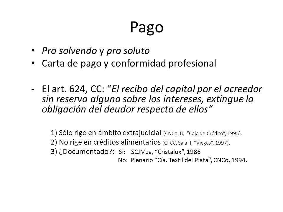 Pago Pro solvendo y pro soluto Carta de pago y conformidad profesional