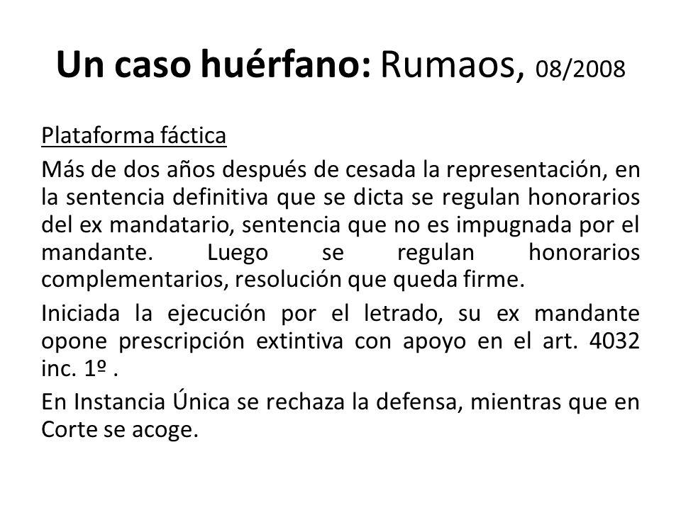 Un caso huérfano: Rumaos, 08/2008
