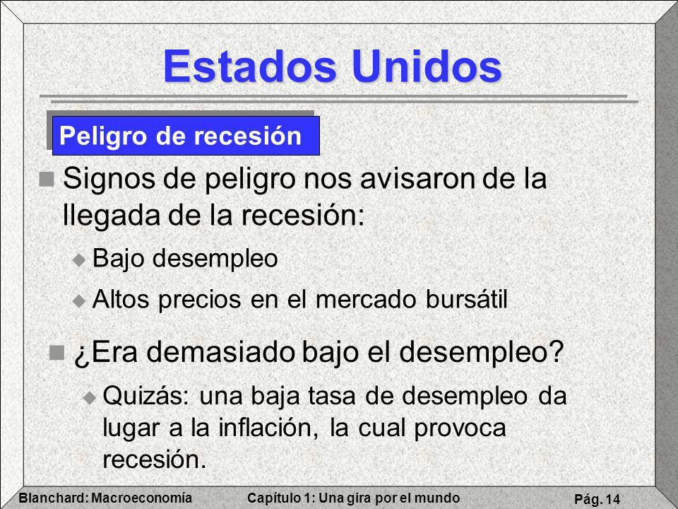 Estados Unidos Peligro de recesión. Signos de peligro nos avisaron de la llegada de la recesión: Bajo desempleo.
