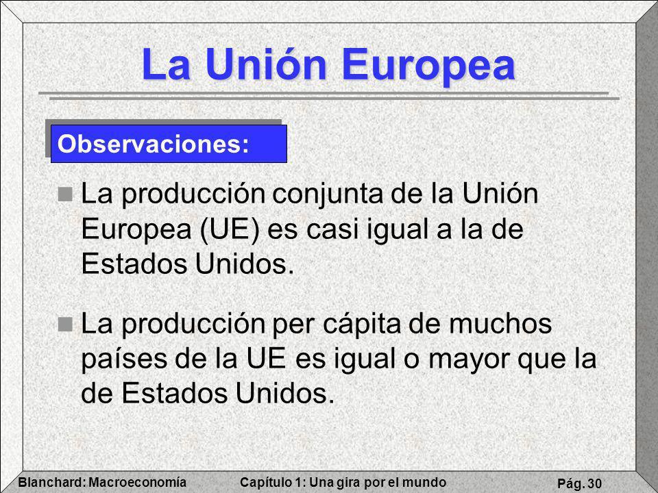 La Unión Europea Observaciones: La producción conjunta de la Unión Europea (UE) es casi igual a la de Estados Unidos.