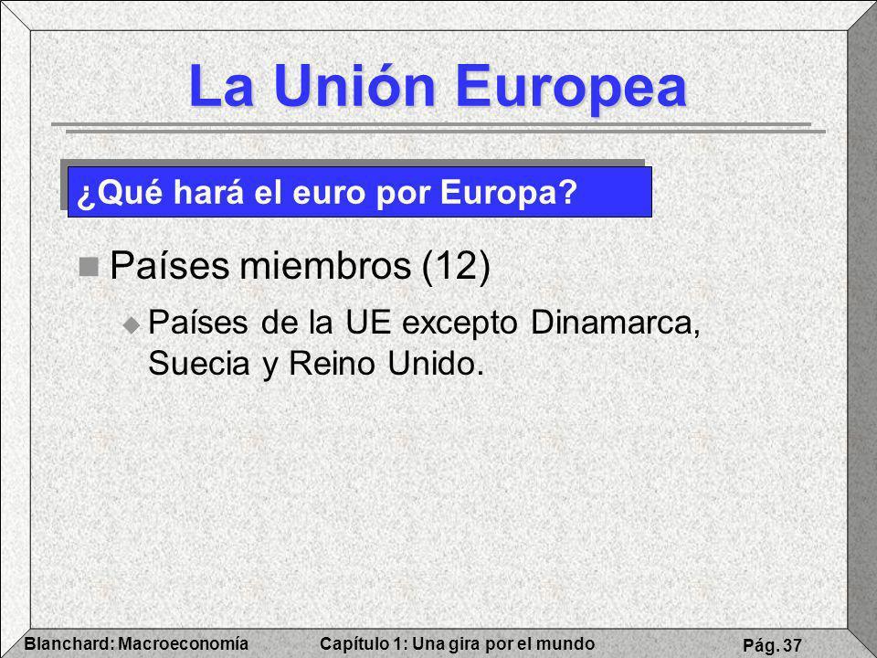 La Unión Europea Países miembros (12) ¿Qué hará el euro por Europa