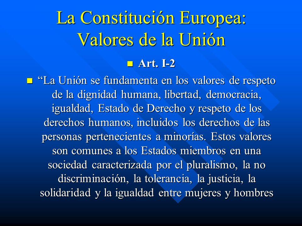 La Constitución Europea: Valores de la Unión