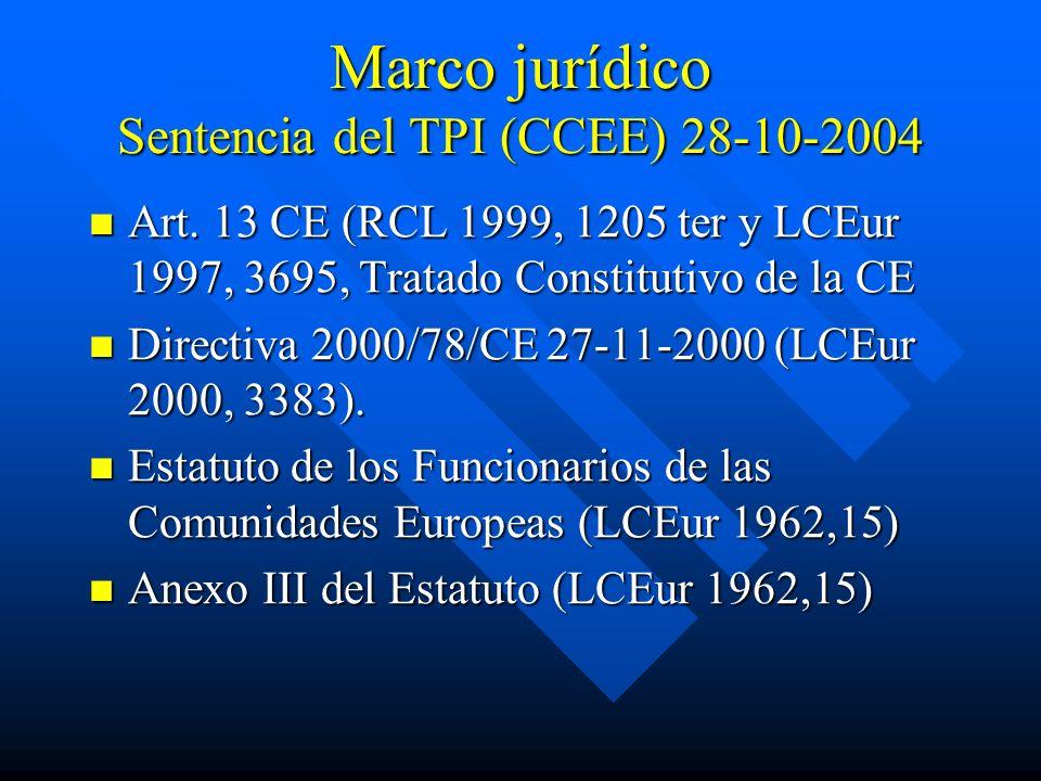 Marco jurídico Sentencia del TPI (CCEE) 28-10-2004