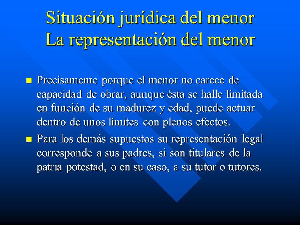Situación jurídica del menor La representación del menor