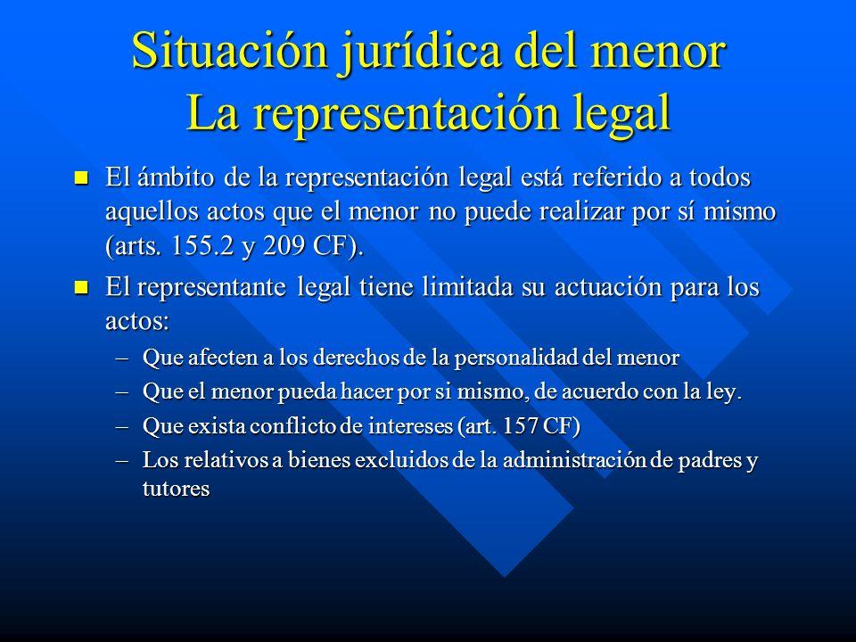 Situación jurídica del menor La representación legal
