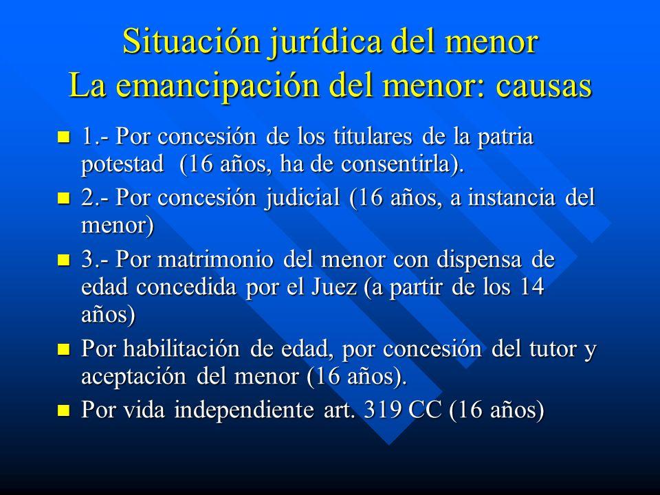 Situación jurídica del menor La emancipación del menor: causas