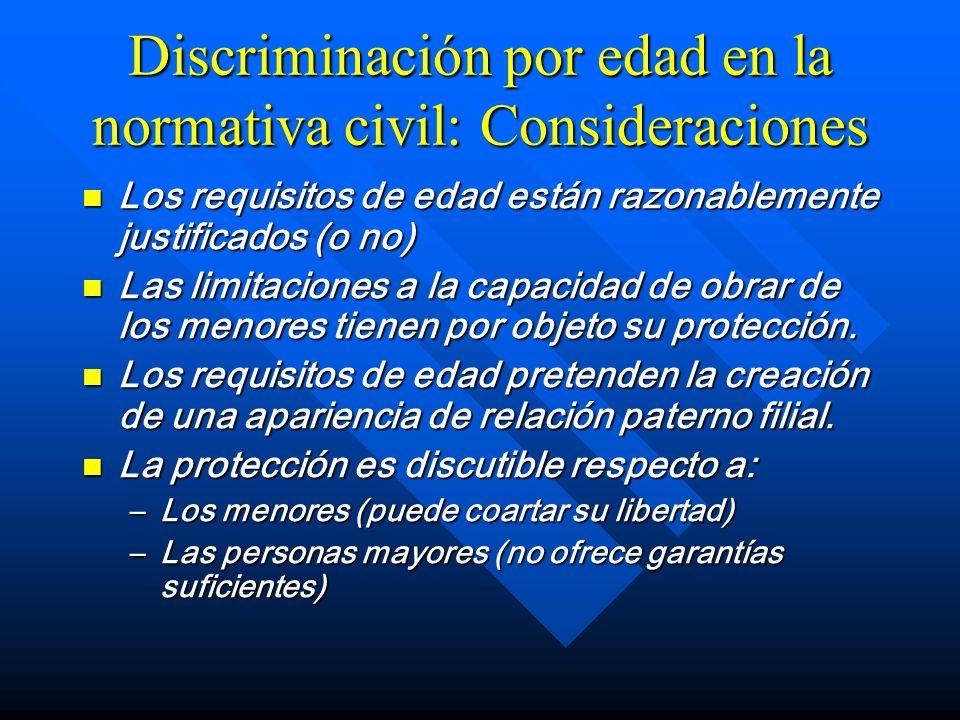 Discriminación por edad en la normativa civil: Consideraciones