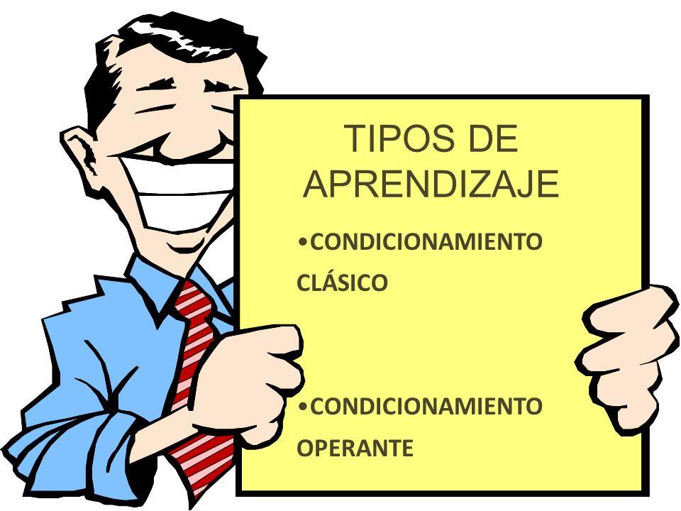 TIPOS DE APRENDIZAJE CONDICIONAMIENTO CLÁSICO OPERANTE