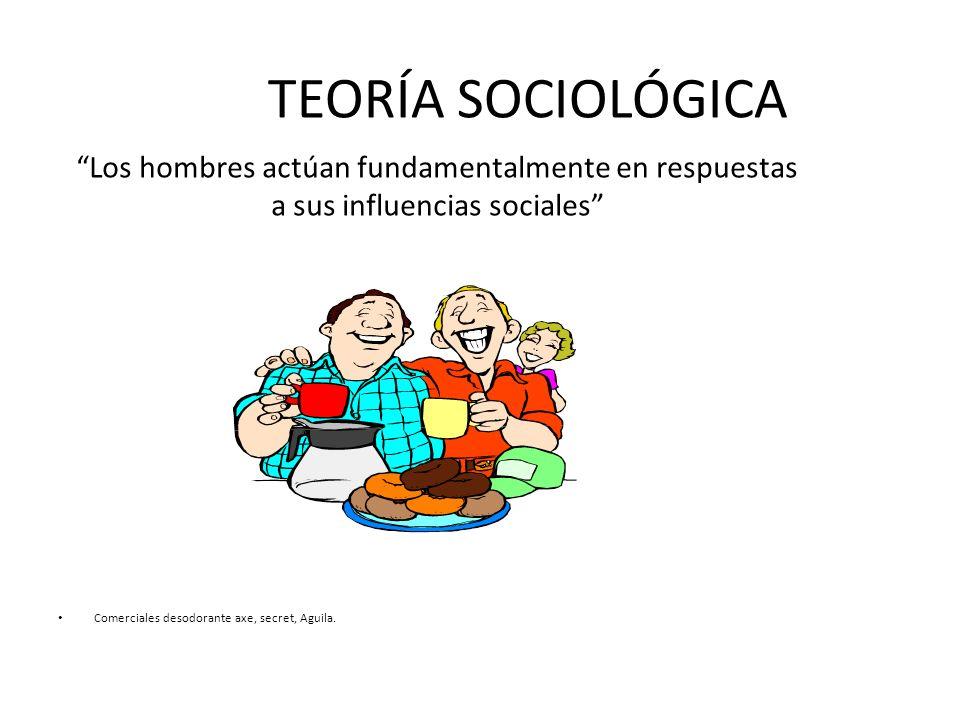 TEORÍA SOCIOLÓGICA Los hombres actúan fundamentalmente en respuestas a sus influencias sociales Comerciales desodorante axe, secret, Aguila.