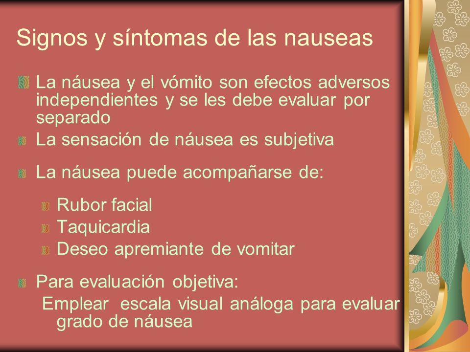 Signos y síntomas de las nauseas